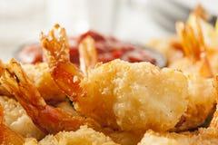 油煎的有机椰子虾 图库摄影
