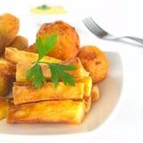 油煎的木薯粉快餐 免版税库存图片