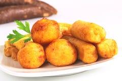 油煎的木薯粉快餐 免版税库存照片