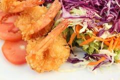 油煎的沙拉虾 图库摄影