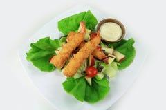 油煎的沙拉虾 免版税库存照片