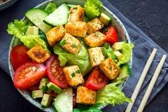 油煎的沙拉豆腐 库存照片