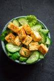 油煎的沙拉豆腐 图库摄影
