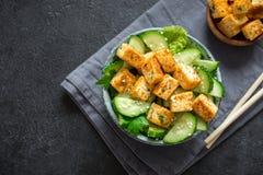 油煎的沙拉豆腐 免版税库存图片