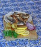 油煎的波儿地克的鲱鱼、土豆、红洋葱和荷兰芹板材  库存图片