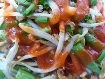 油煎的淡菜用豆芽, 免版税图库摄影