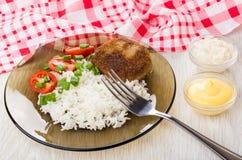 油煎的炸肉排用米,蕃茄,葱,碗用辣根 图库摄影