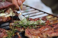 油煎的烤肉用草本 免版税库存图片