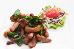 油煎的猪肉供食与各种各样的菜 库存照片