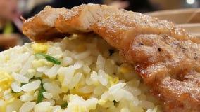 油煎的猪肉和米的行动在板材