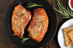 油煎的猪肉牛排 图库摄影