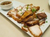 油煎的猪肉用辣调味汁,泰国样式 免版税库存照片