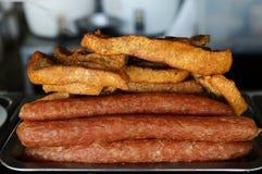 油煎的猪肉 库存照片