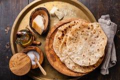 油煎的玉米粉薄烙饼用乳酪 免版税库存图片