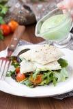油煎的白色鱼内圆角用蕃茄沙拉,芝麻菜,草本 库存照片