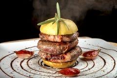 油煎的肉的一个美好的介绍用苹果 图库摄影