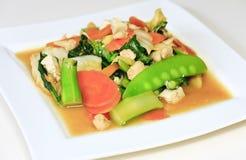 油煎的肉蔬菜 库存图片