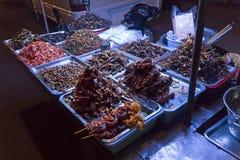 油煎的臭虫,昆虫,蛇,蠕虫在街道食物市场上 异乎寻常的食物亚洲烹调 库存照片