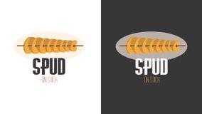 油煎的芯片的平的动画片商标图象在棍子 图库摄影