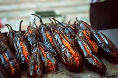 油煎的茄子充塞用辣红萝卜 免版税图库摄影