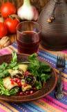 油煎的茄子劳斯与乳酪、大蒜、香菜和石榴种子的 免版税库存图片