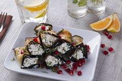 油煎的茄子劳斯与乳酪和石榴种子的 免版税库存照片