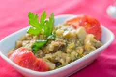 油煎的茄子纯汁浓汤沙拉开胃菜土耳其语烹调 库存照片