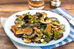 油煎的蘑菇牡蛎 库存照片