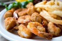 油煎的虾晚餐 库存图片