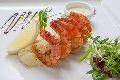 油煎的虾用土豆泥 免版税库存图片