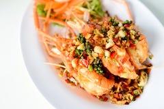 油煎的虾用大蒜和胡椒 图库摄影