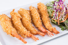 油煎的虾用沙拉 免版税库存照片
