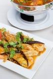 油煎的虾用罗望子树调味汁 免版税库存图片