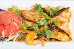 油煎的虾用罗望子树调味汁 免版税图库摄影