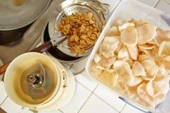 油煎的虾薄脆饼干广告青葱 库存照片