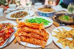 油煎的虾蛄和其他海鲜 高棉样式 免版税库存照片