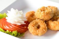 油煎的虾 虾和菜油炸馅饼 库存照片