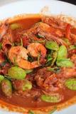 油煎的虾petai -亚洲食物 图库摄影
