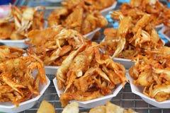 油煎的螃蟹亚洲食物 库存照片