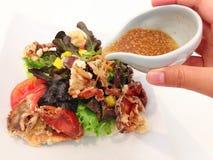 油煎的螃蟹沙拉用日本调味汁 库存照片