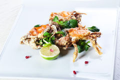 油煎的螃蟹用乳酪 免版税库存照片