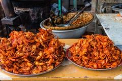 油煎的螃蟹,在缅甸(Burmar)的Amarapura 免版税库存照片