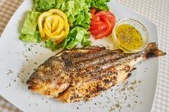油煎的被烘烤的鱼 免版税库存图片