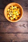 油煎的豆腐立方体  免版税库存图片