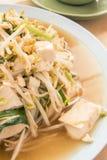 油煎的豆芽混合豆腐 免版税库存照片