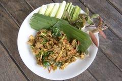 油煎的辣公猪泰国食物,与公猪的混乱炒饭 库存照片
