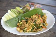 油煎的辣公猪泰国食物,与公猪的混乱炒饭 免版税图库摄影