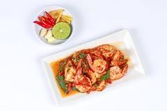 油煎的辣蓬蒿用与配菜的虾 免版税库存照片
