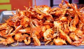 油煎的辣螃蟹,异乎寻常的亚洲中国烹调,典型的可口亚洲中国食物 免版税库存图片