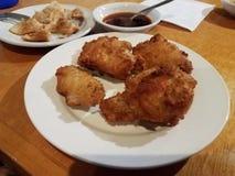 油煎的韩国鸡和饺子和酱油在板材 库存图片